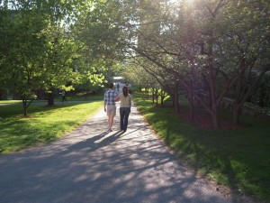 Strolling along the Cornell University campus