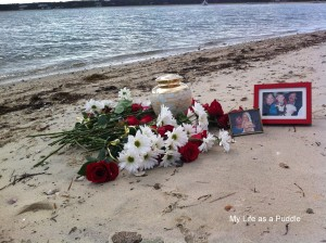 The altar we made for Sandy on the beach.
