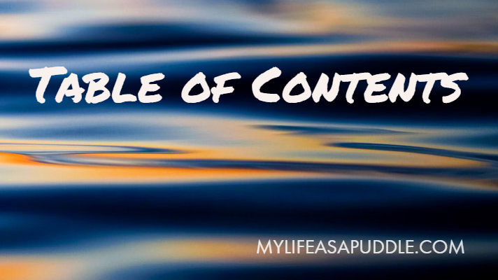 Table of Contents for the blog My Life as a Puddle