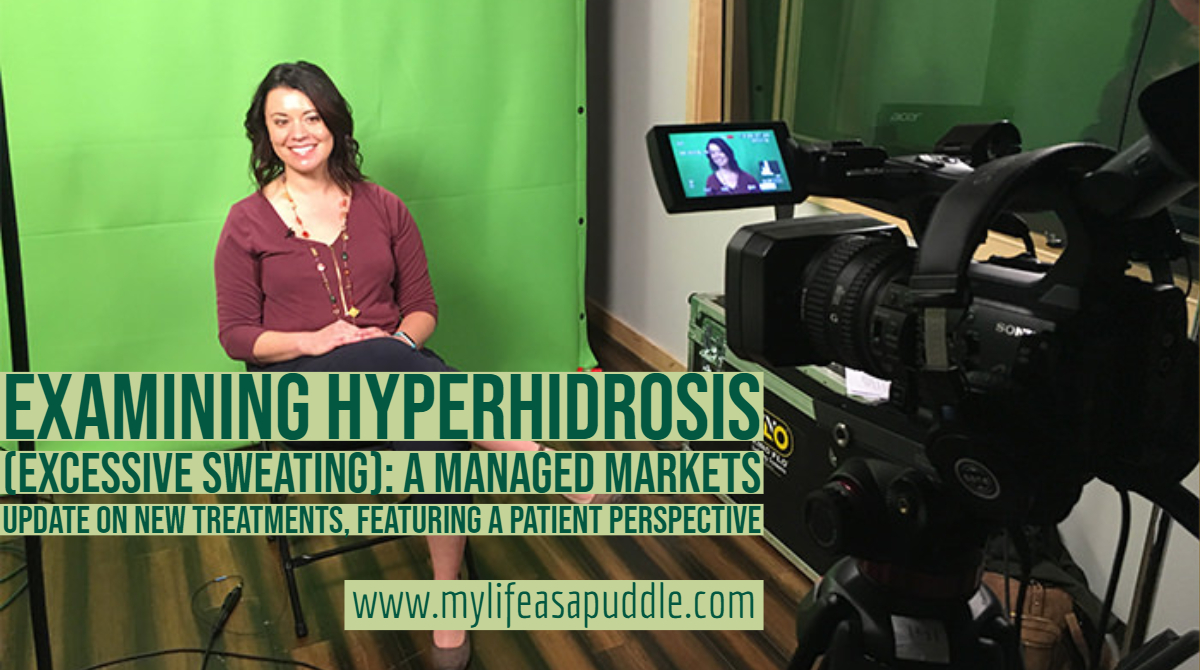 woman being filmed for an interview about hyperhidrosis