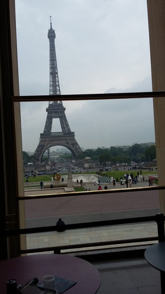 view of Eiffel Tower from from the Palais de Chaillot